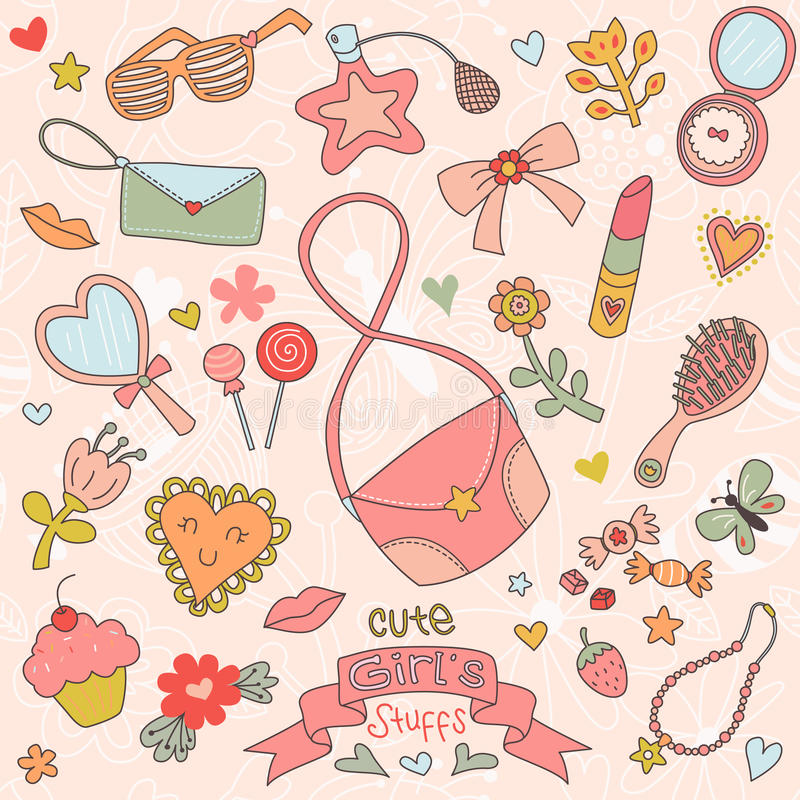 Set of Cute Girl's Stuffs vector illustration