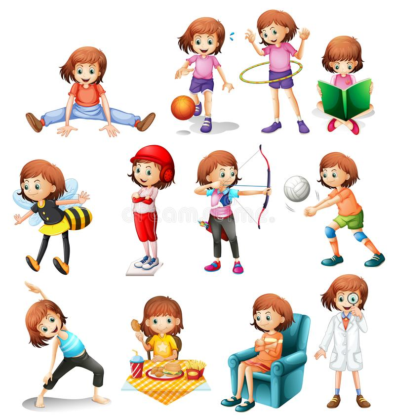 Set of cute girl with various activity. Illustration royalty free illustration