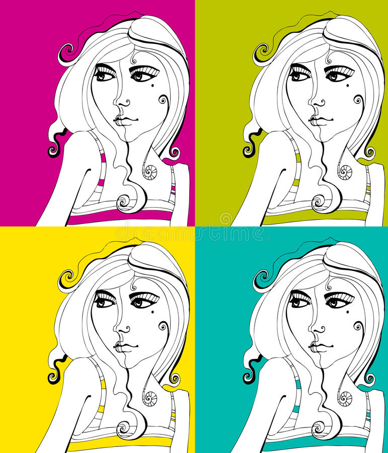 Download Set of Cute girls stock vector. Image of attractive, young - 15192633