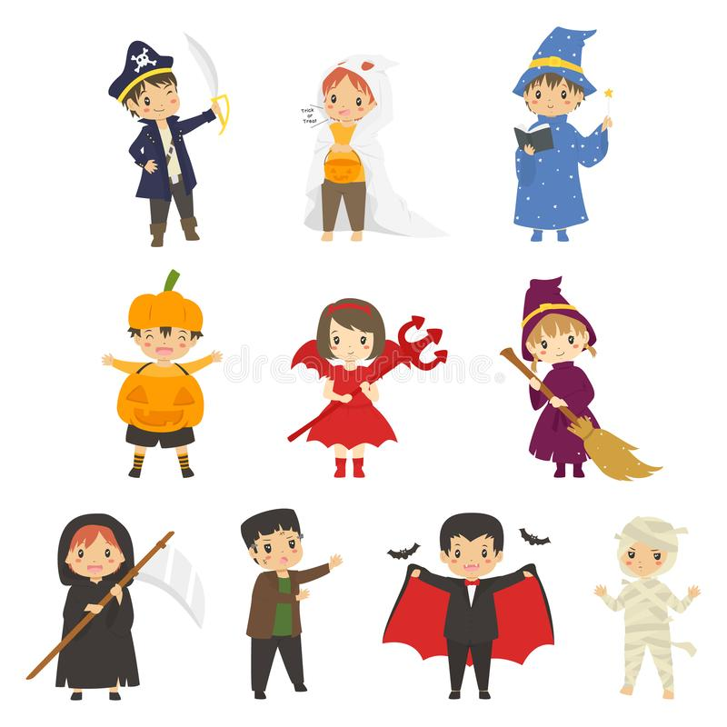 Set of Cute Halloween Characters Vector royalty free stock images