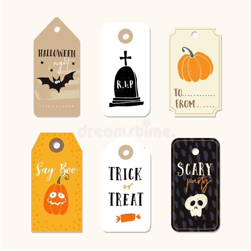 Set of cute Halloween gift tags, labels with pumpkins, human skull, bat and tomb. Hand drawn illustrations. Vector. Set of cute Halloween gift tags, labels with stock illustration