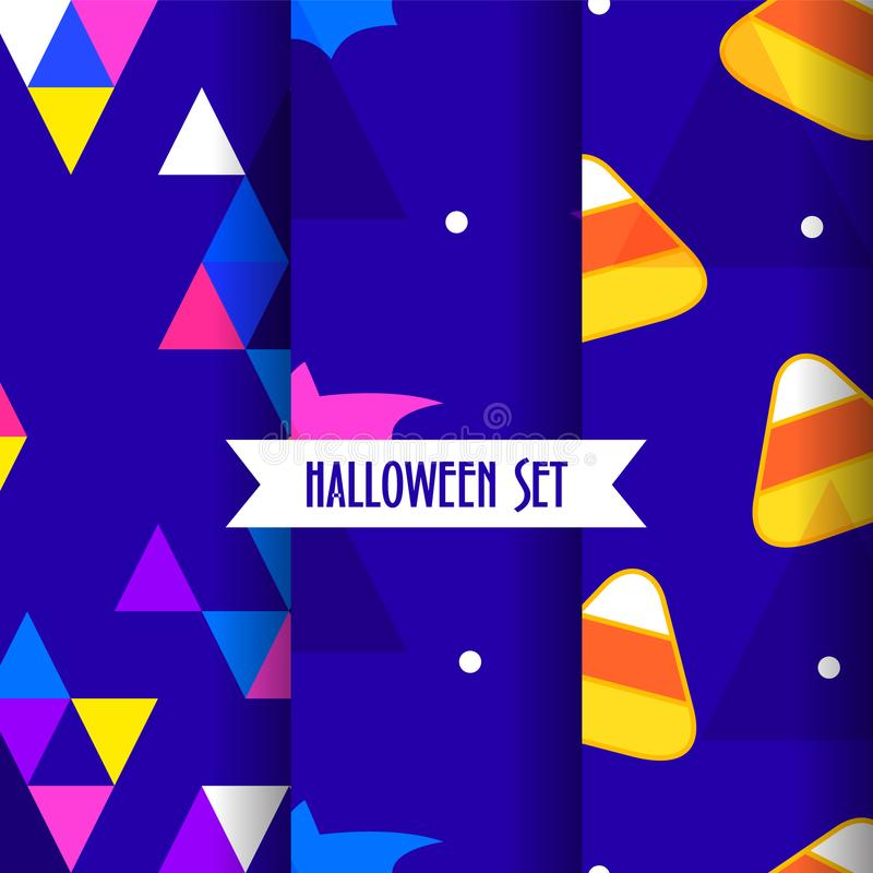 Set of cute halloween patterns with candy corns, bat and triangles on blue background. royalty free illustration