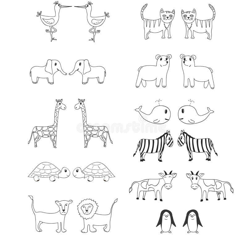 Set of cute hand drawn animals royalty free illustration