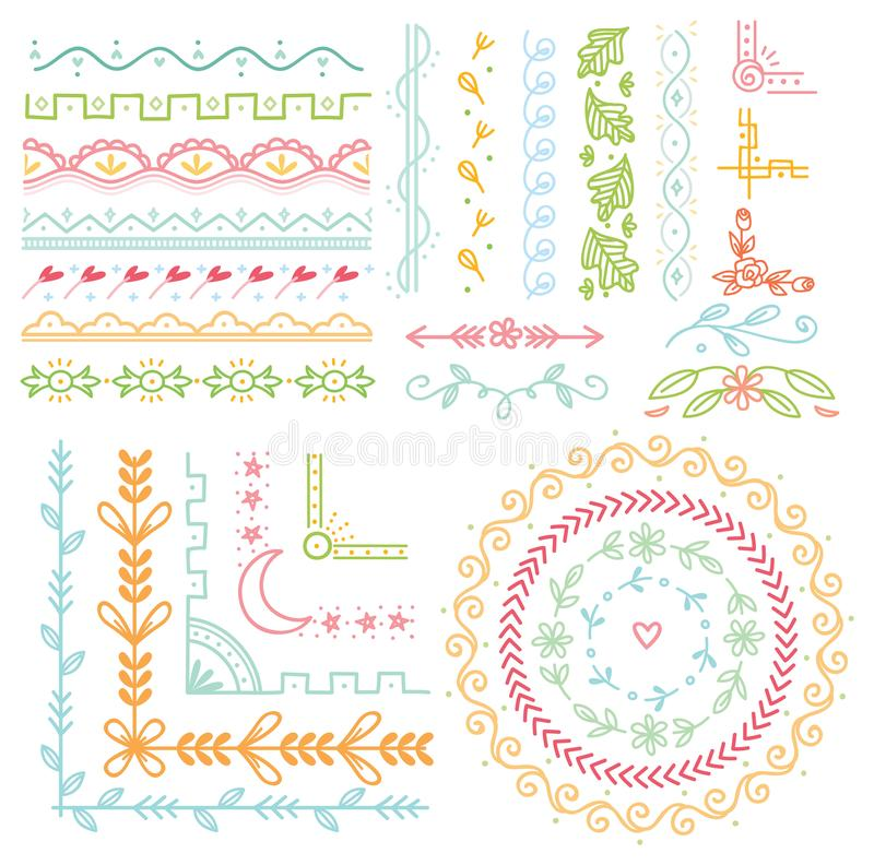 Set of cute hand drawn border vector illustration