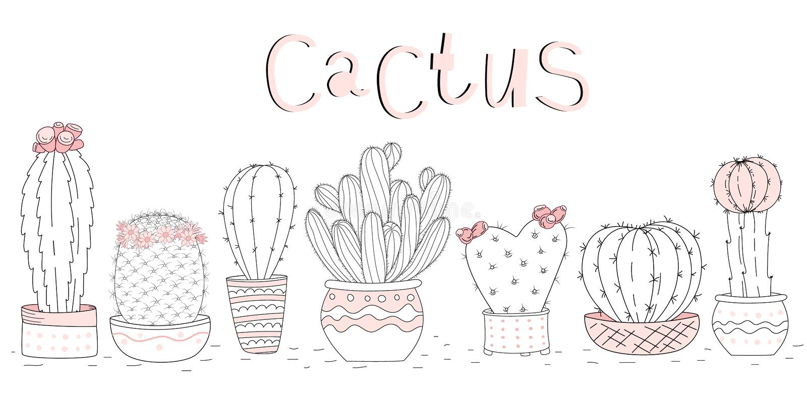 Set of cute hand drawn cacti on white background and hand lettering stock photos