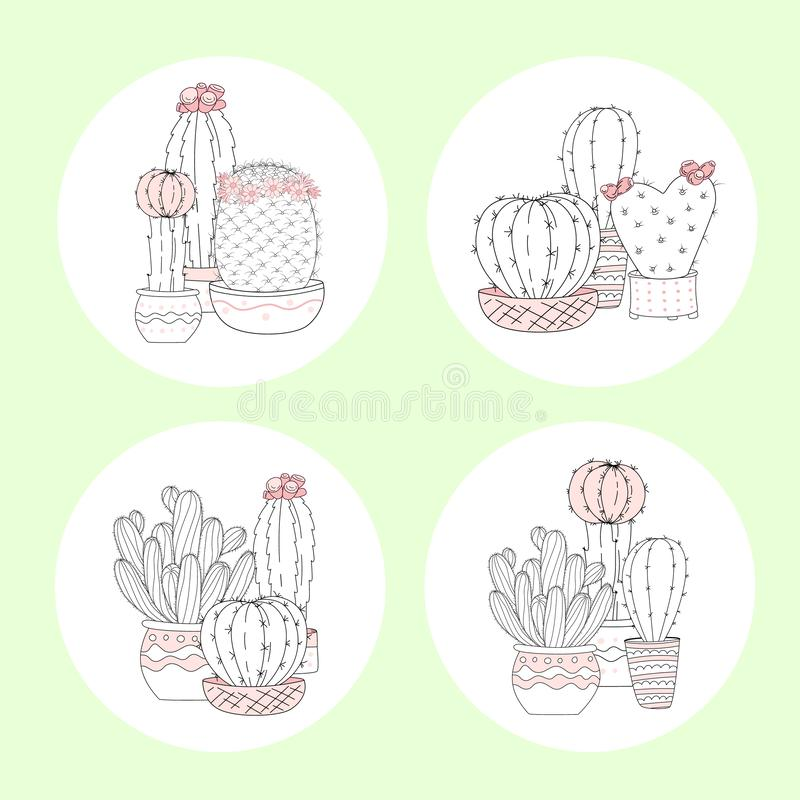 Set of cute hand drawn cactus with letters on color background royalty free illustration
