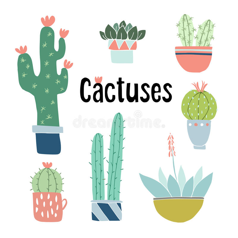 Set of cute hand drawn cactus and succulent plants in pots. Isolated floral vector objects. Cartoon illustrations. royalty free illustration