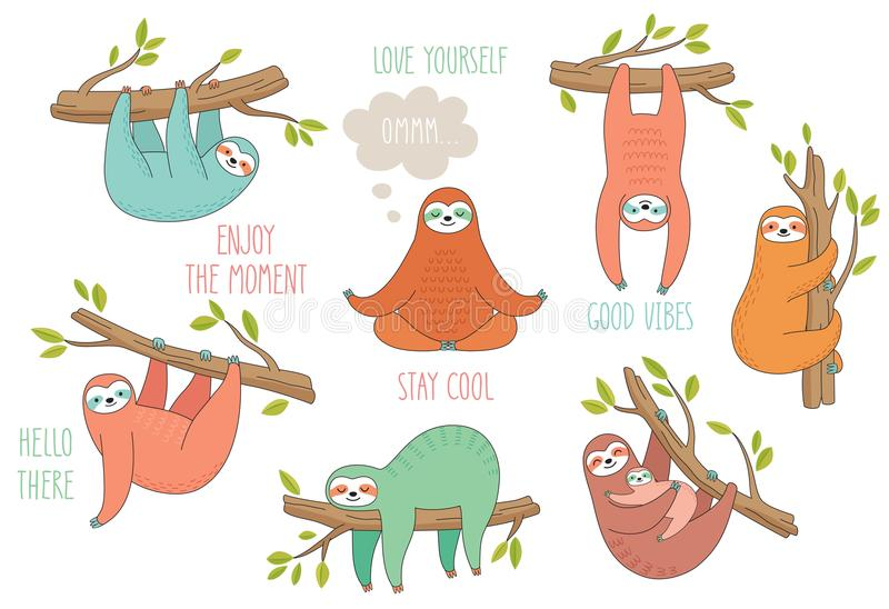 Set of cute hand drawn sloths hanging on the tree. Lazy animal characters. Jungle animal collection vector illustration