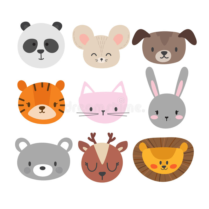 Set of cute hand drawn smiling animals. Cat, bunny, panda, lion, tiger, dog, deer, mouse and bear. Cartoon zoo stock illustration