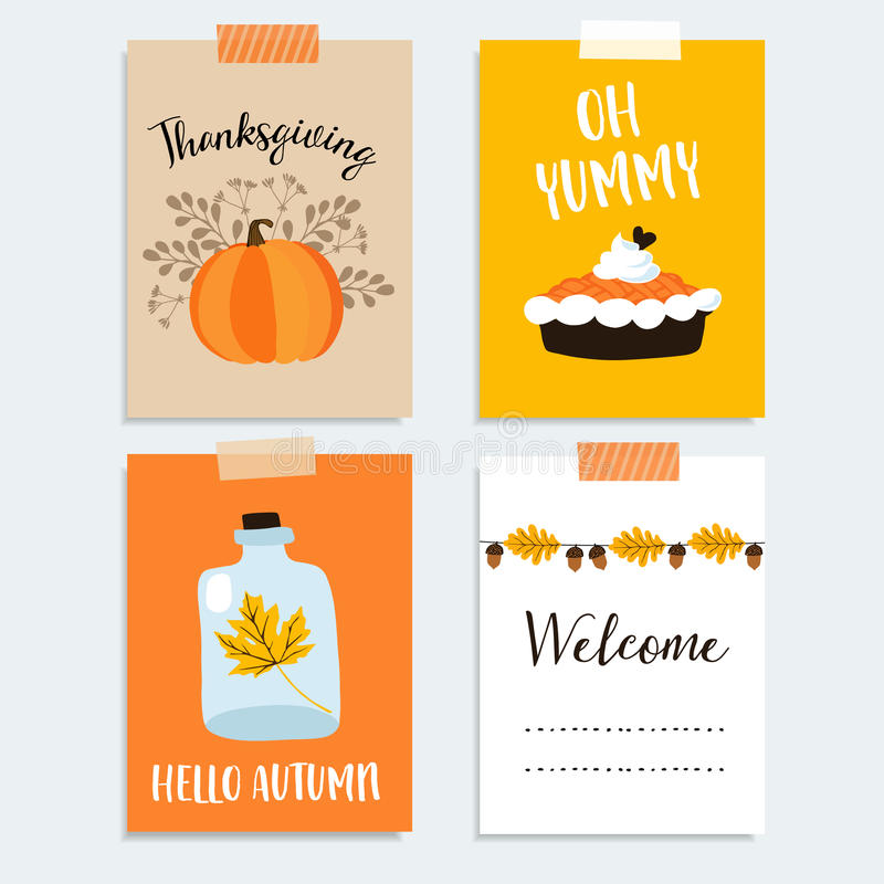 Set of cute hand drawn thanksgiving cards. Autumn, fall design with pumpkin, pumpkin pie, oak, maple leaves and acorns. Vector. stock illustration