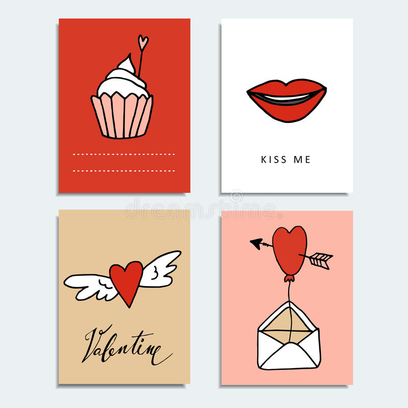 Set of cute hand drawn Valentines day cards. Love concept and doodle symbols, vector objects. royalty free illustration