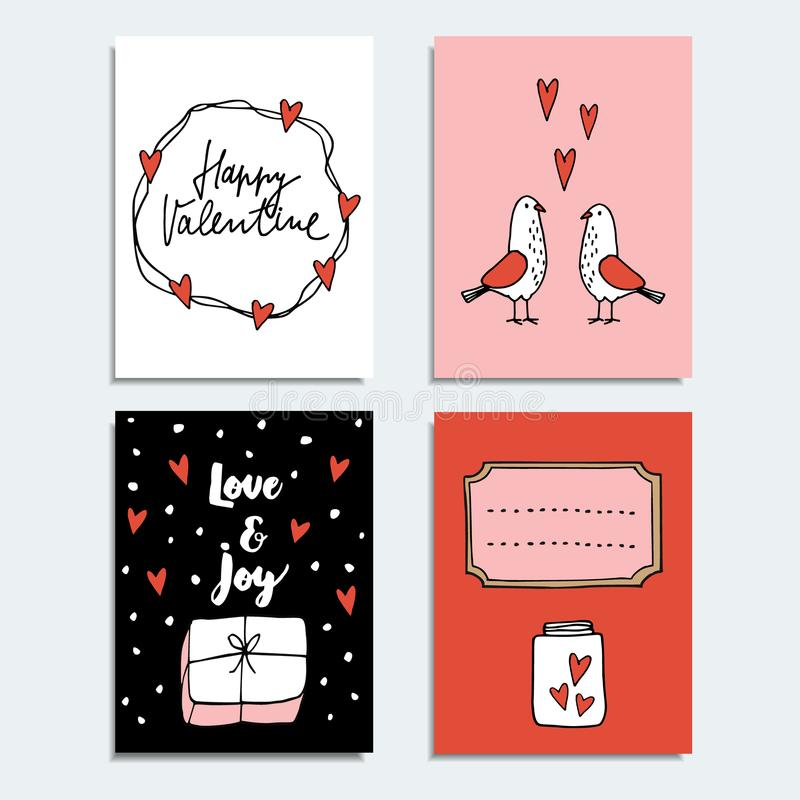 Set of cute hand drawn Valentines day or wedding cards, invitations with couple of dove birds, gift and hearts. stock illustration