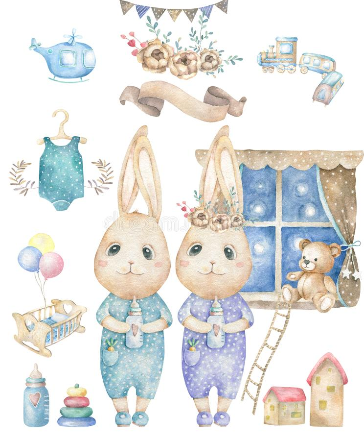 Set cute happy birthday card with cartoon two Bunny. Watercolor rabbits clip art cradle and toys for baby, cot, bear, ribbon for. Cute happy birthday card with royalty free stock images