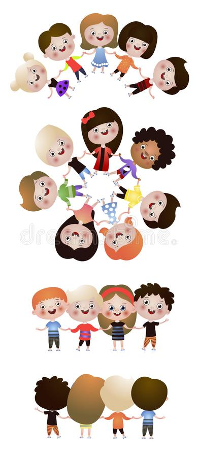 Set of cute happy kids, best friends in round dance vector illustration