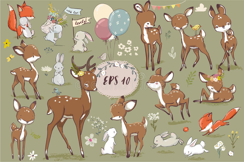 Set with cute hares and deer royalty free illustration