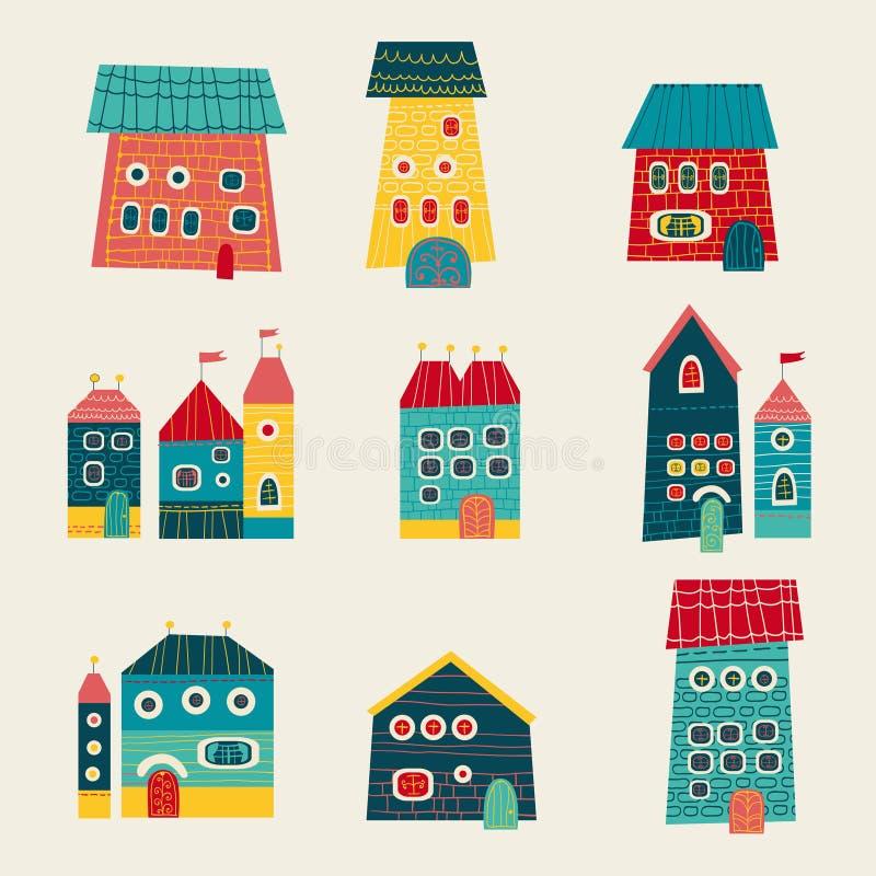 Set Of Cute Houses Hand Drawn Cartoon Kids Style Stock ...