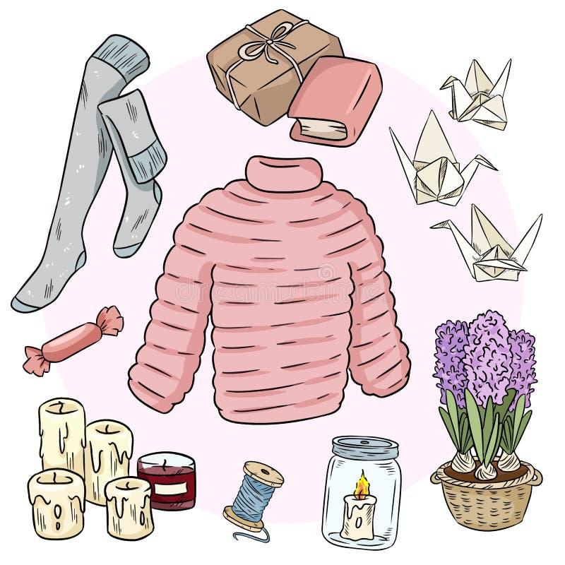 Set of cute hygge sticker doodles. Scandinavian style vector illustration