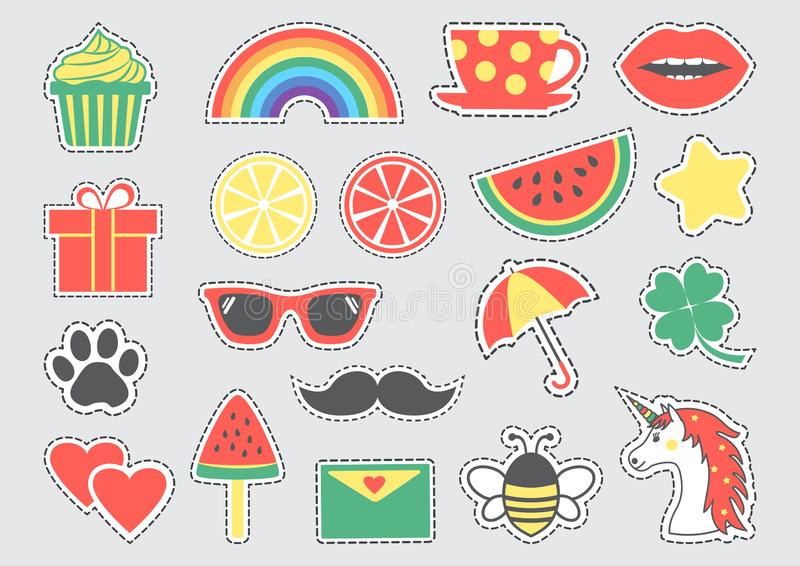 Set of cute icons with dotted lines. Vector illustration stock illustration