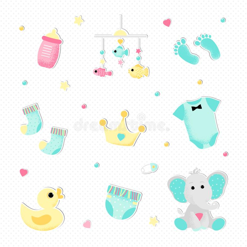 Flat style for a boy baby shower royalty free illustration