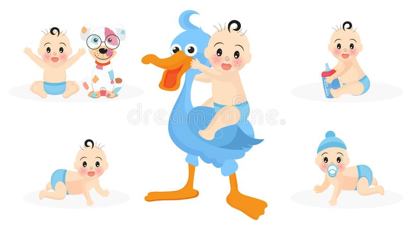 Set of cute infant boy characters with stork, toys, puppy and milk bottle for Baby shower. vector illustration