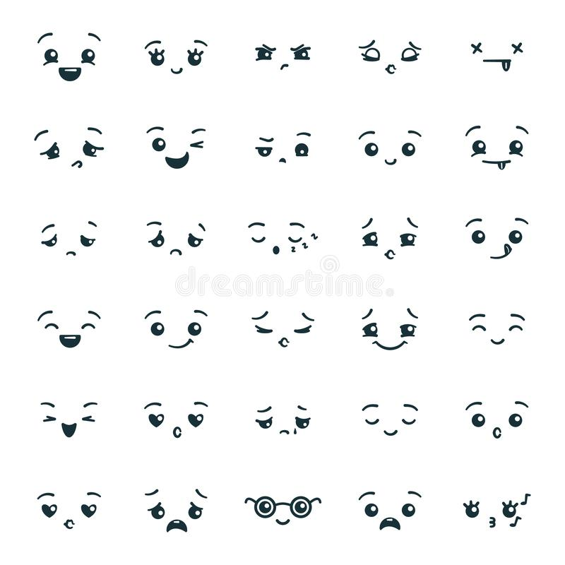 Set of cute kawaii emoticons emoji. Expression faces in the style of Japanese anime, manga. stock illustration