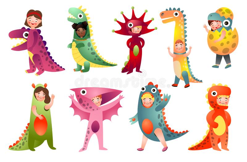 Set of cute kids in different colorful dino costume. For holiday party. Cartoon style. Vector illustration on white background vector illustration