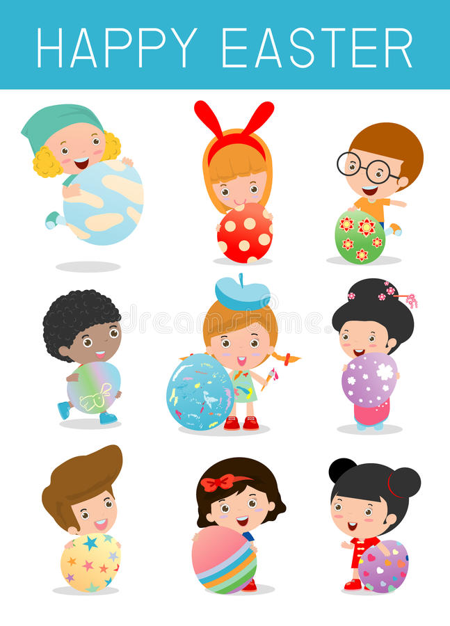 Set of Cute kids and Easter eggs on white background. Easter eggs and children, happy easter , Easter eggs vector icons f vector illustration