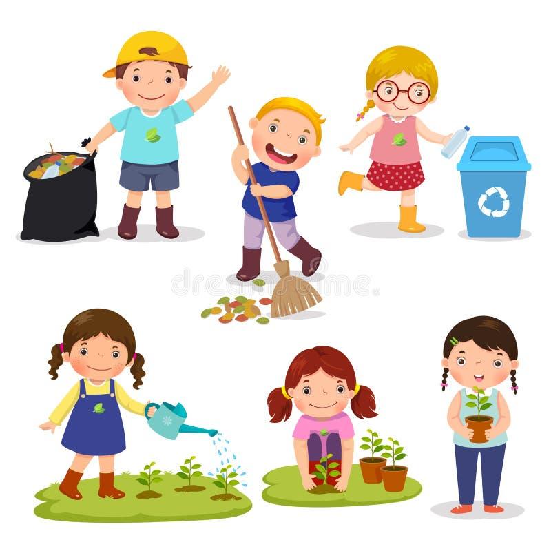 Set of cute kids volunteers vector illustration