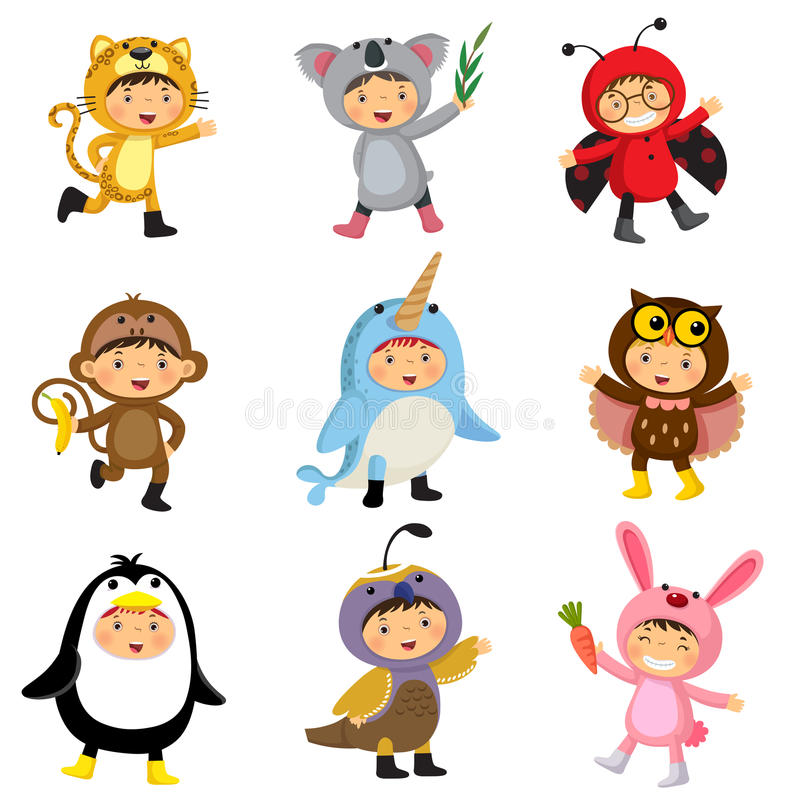 Set of cute kids wearing animal costumes. Jaguar, koala, ladybir. Set of cute kids wearing animal costumes vector illustration