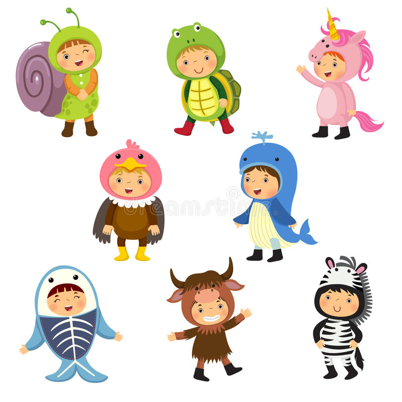 Set of cute kids wearing animal costumes. Snail, turtle, unicorn. Set of cute kids wearing animal costumes vector illustration