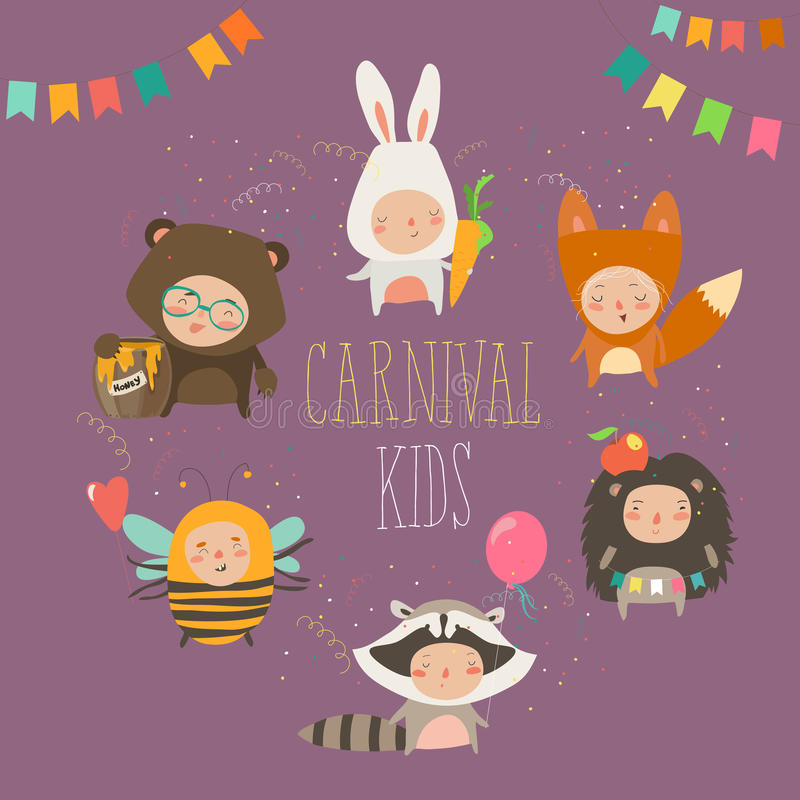 Set of cute kids wearing animal costumes. Vector illustration royalty free illustration