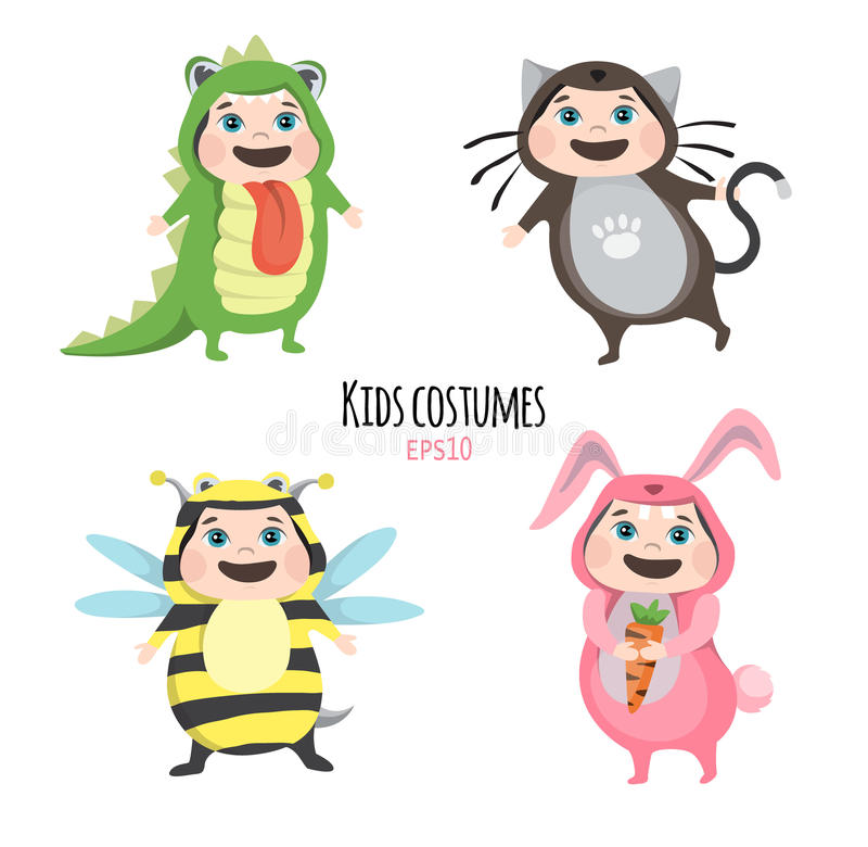 Set of cute kids wearing animal costumes on white background, Kid with animals costume, cute child in costume. Set of cute kids wearing animal costumes on white stock illustration