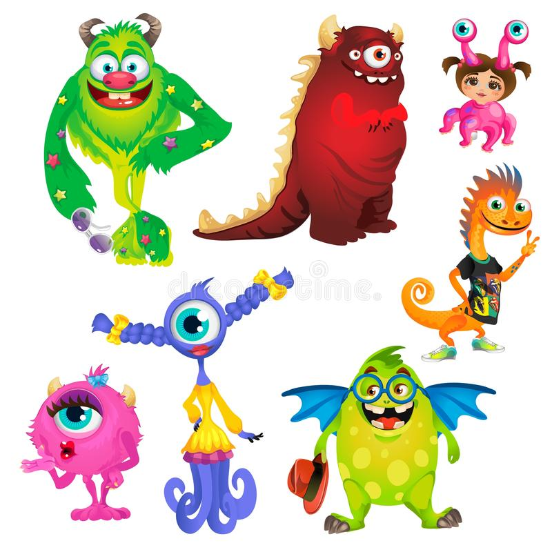 Set of cute kind smiling animated monsters isolated on white background. Vector cartoon close-up illustration. vector illustration