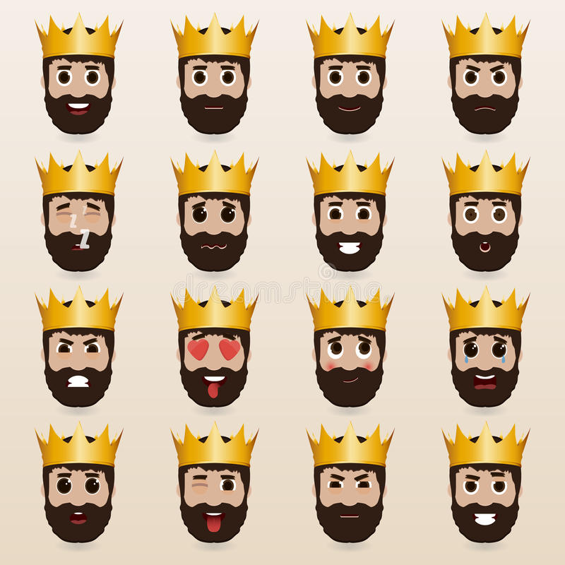 Set of cute king emoticons. stock illustration