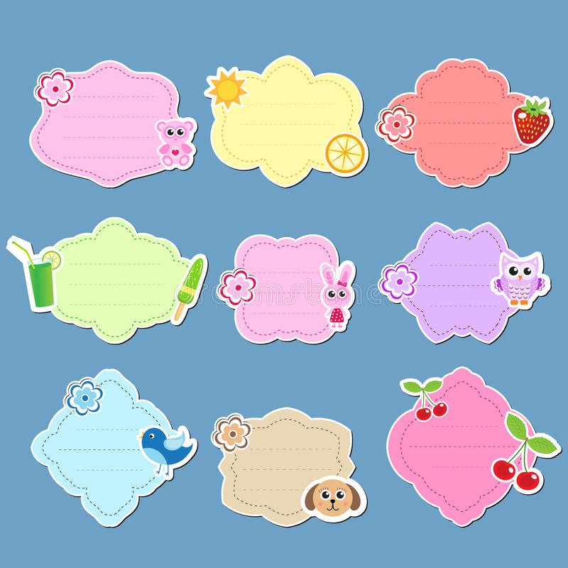 Set Of Cute Labels, Stickers, Frames For Text. Kids Tag For Text ...