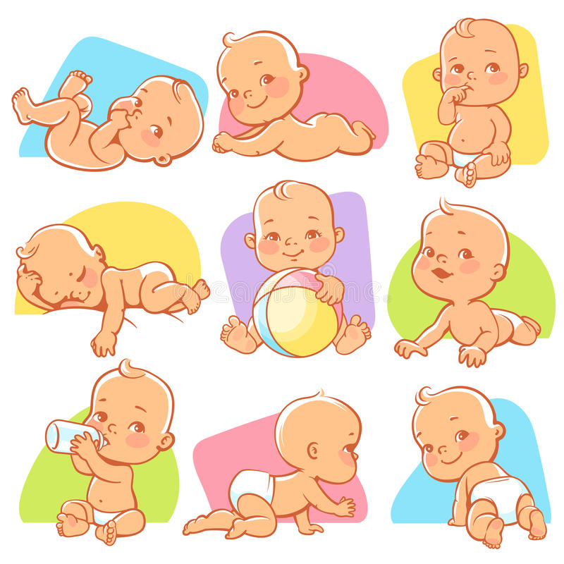 Set with cute little baby in different situations. vector illustration