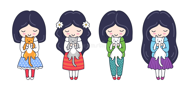 Set of cute little dark-haired girls with kittens. vector illustration