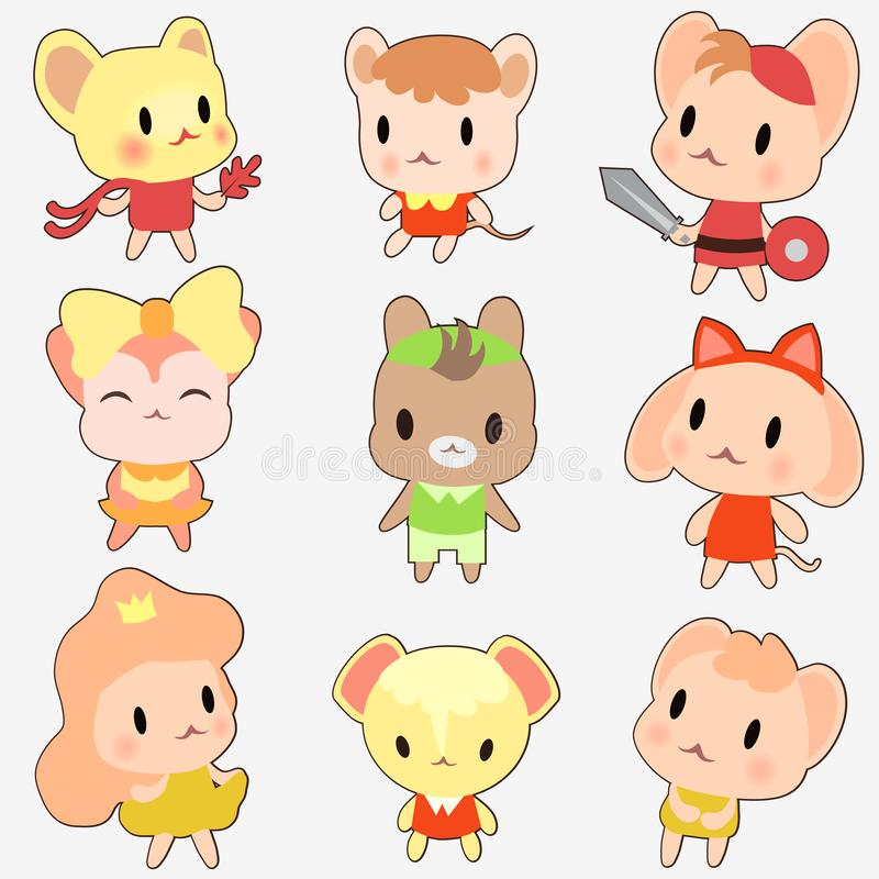Set of cute little mouse. Kawaii mouse anime style isolated on white background. Set of cute colored little mouse. Kawaii mouse anime style isolated on white royalty free illustration
