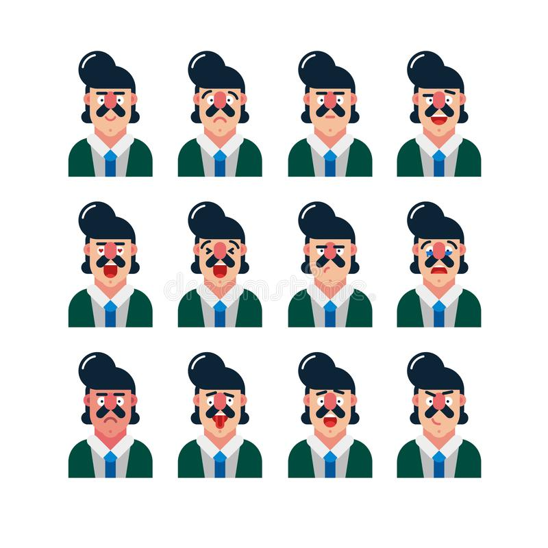 Set of cute man facial expressions. vector illustration vector illustration