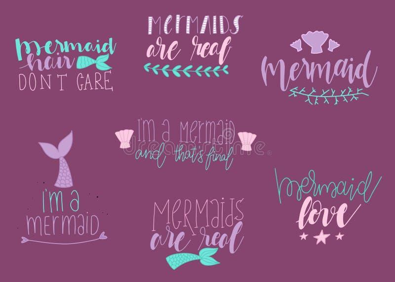 Set Of Cute Mermaid Card. Hand Drawn Cute Inspirational ...