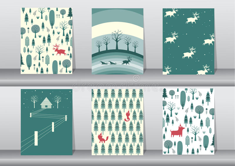 Set of cute Merry christmas background with cute animal and christmas Tree,Lovely cartoon background with holiday symbols,Vector. Set of cute Merry christmas stock illustration