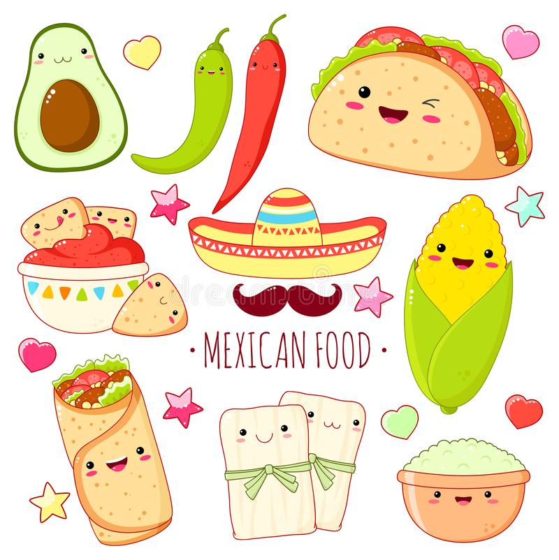 Set of cute mexican food stickers in kawaii style vector illustration