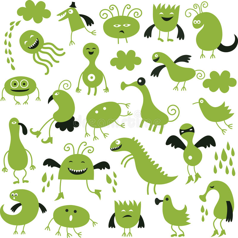 Download Set of cute monsters stock vector. Illustration of cheerful - 25846539