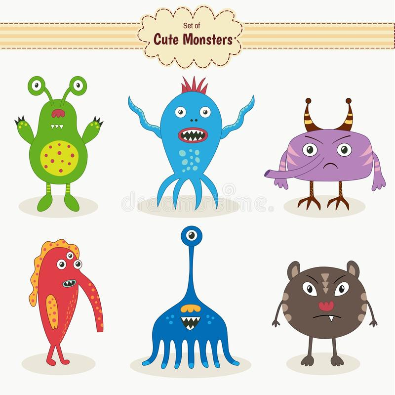 Set of cute monsters vector illustration