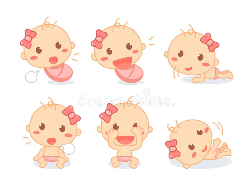 Set of a cute newborn baby girl. Infant toddler milestones. Baby development. Exploration stock illustration