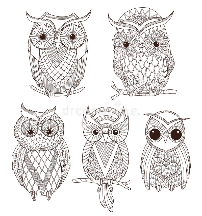 Download Set of cute owls stock vector. Illustration of collection - 25217401