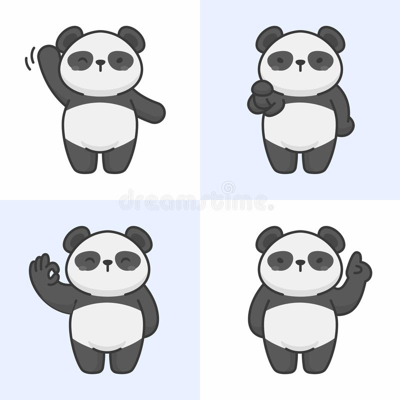 Vector set of cute panda characters vector illustration
