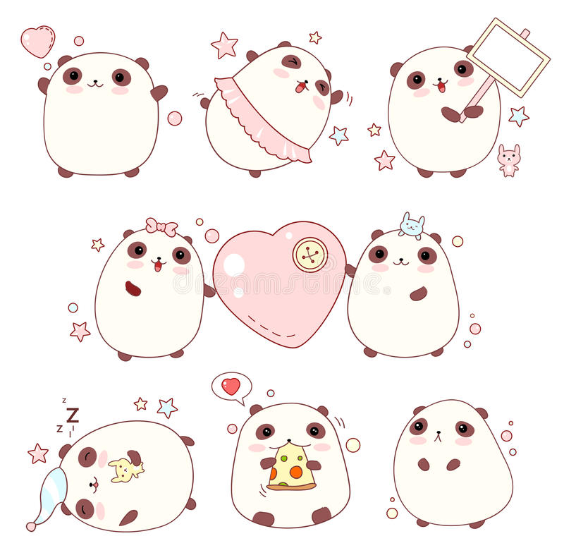 Set of cute pandas in kawaii style stock illustration