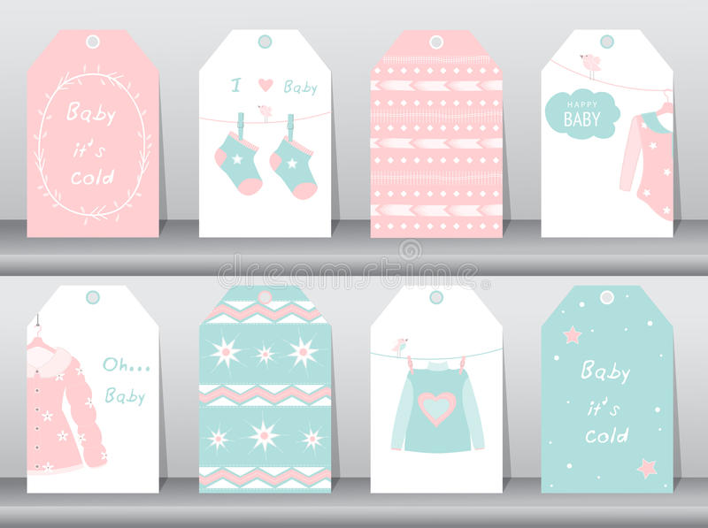 Set of cute paper winter tags,winter clothes,baby clothes,Vector illustrations. Set of cute paper winter tags,winter clothes,baby clothes royalty free illustration