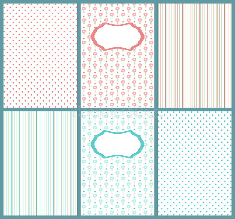 Set of cute pastel cards. Templates of kids postcard, can use for baby shower invitations. royalty free illustration